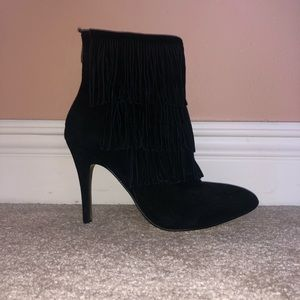 BLACK FRINGE SUEDE BOOTIES CHINESE LAUNDRY